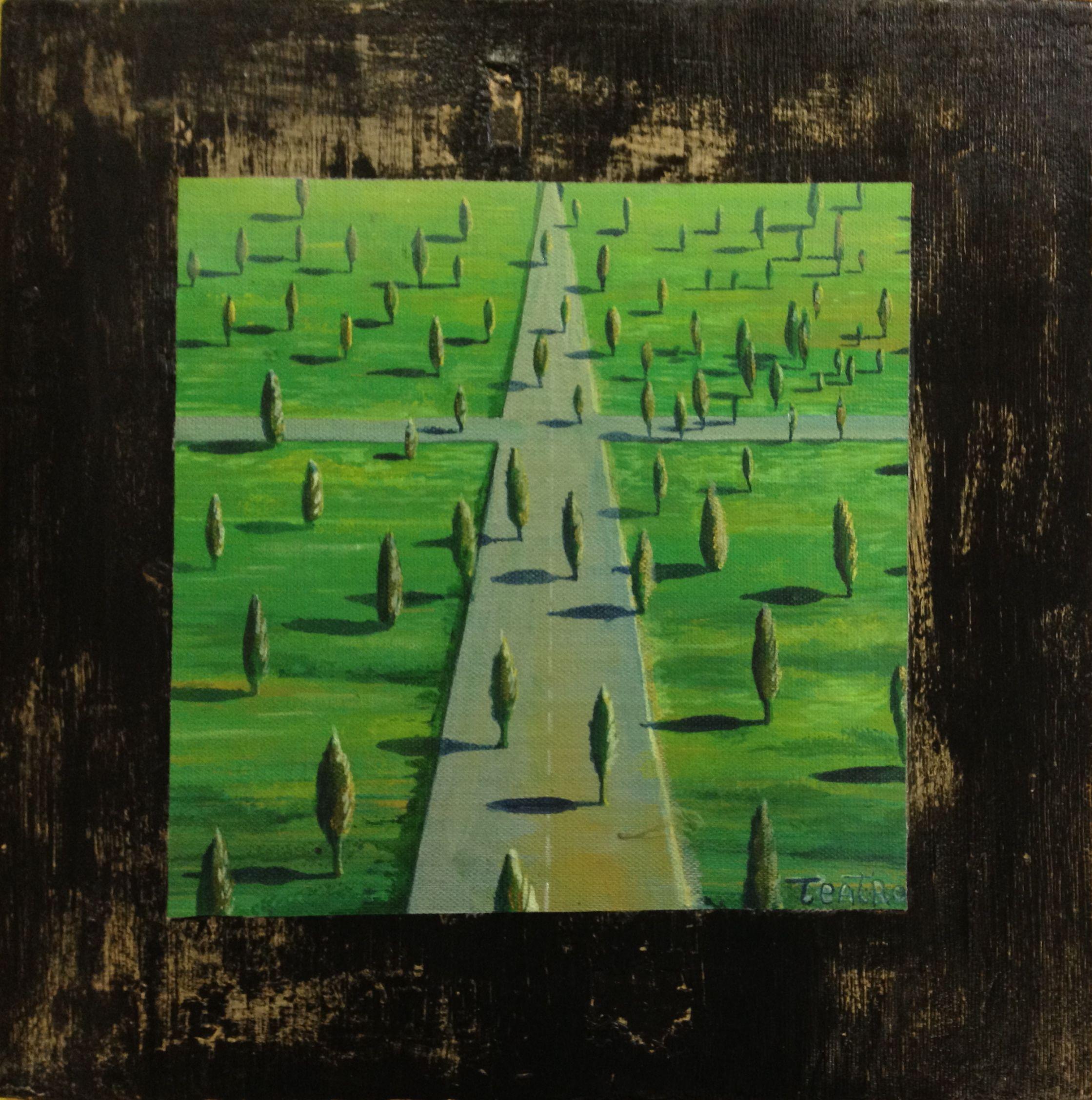 501 acrylics on canvas, burnt wood 31,5 x 31,5 Cm. Tela