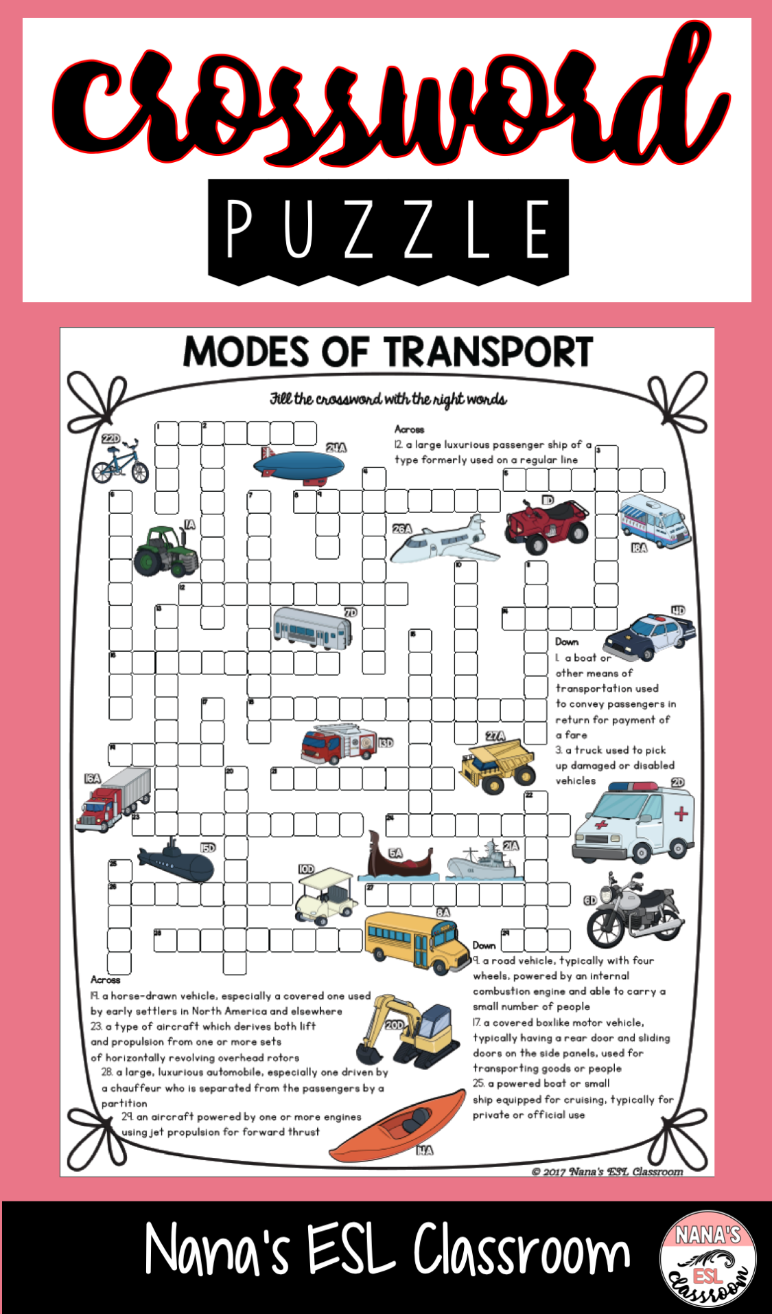 Modes Of Transport Crossword Puzzle Vocabulary Words Transportation Activities Teaching Elementary