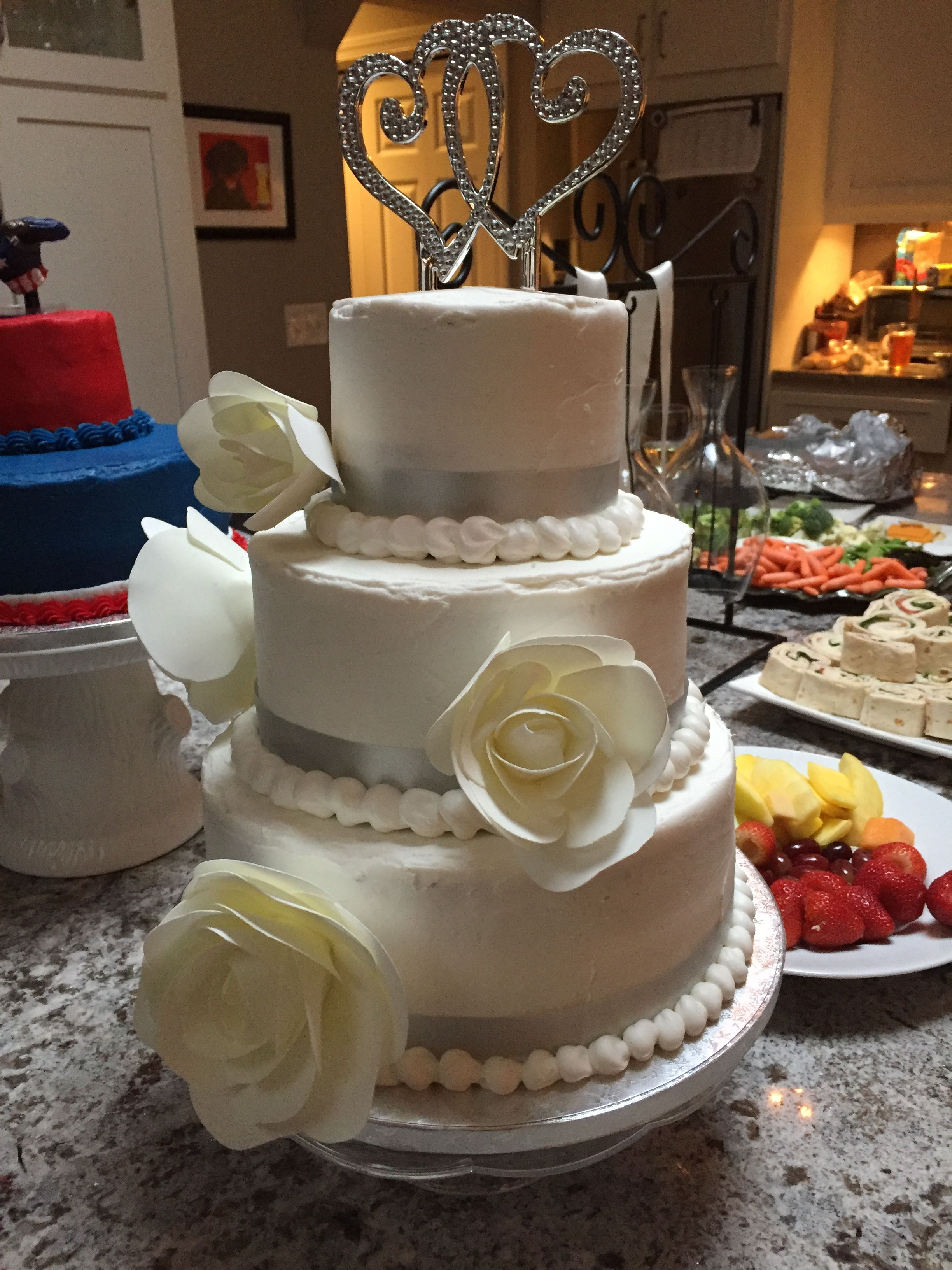 Jenni & Eli wedding cake - Sams club did a great job .  Sams club