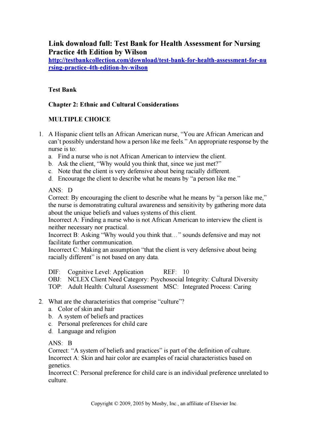 Ghim Tren Test Bank For Health Assessment For Nursing Practice 4th