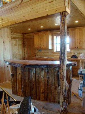 Charming Rustic Kitchen With Redwood Burl Bar Top
