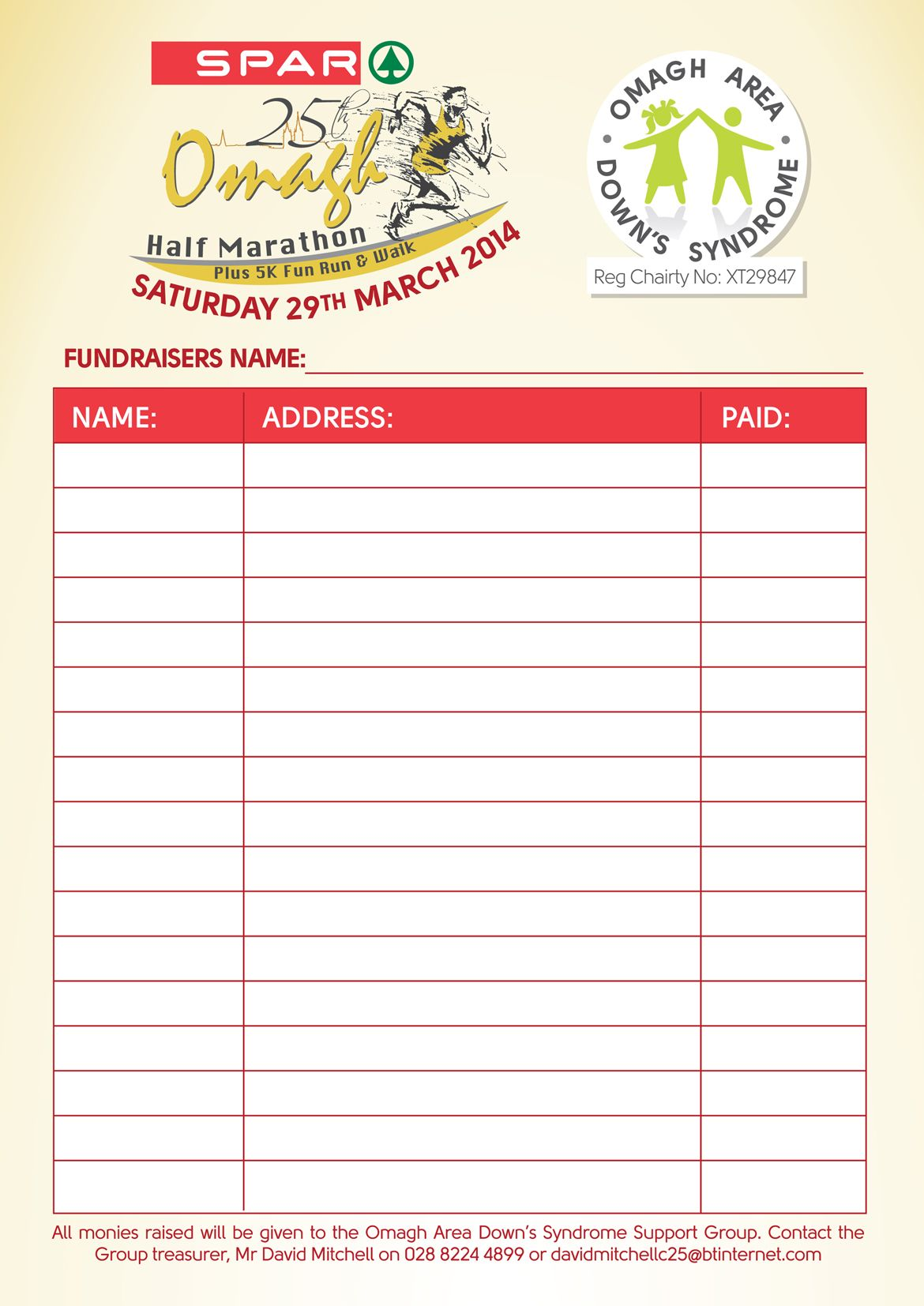 5k Run Registration Form Template Invitation Templates – Sponsored Walk Form Template