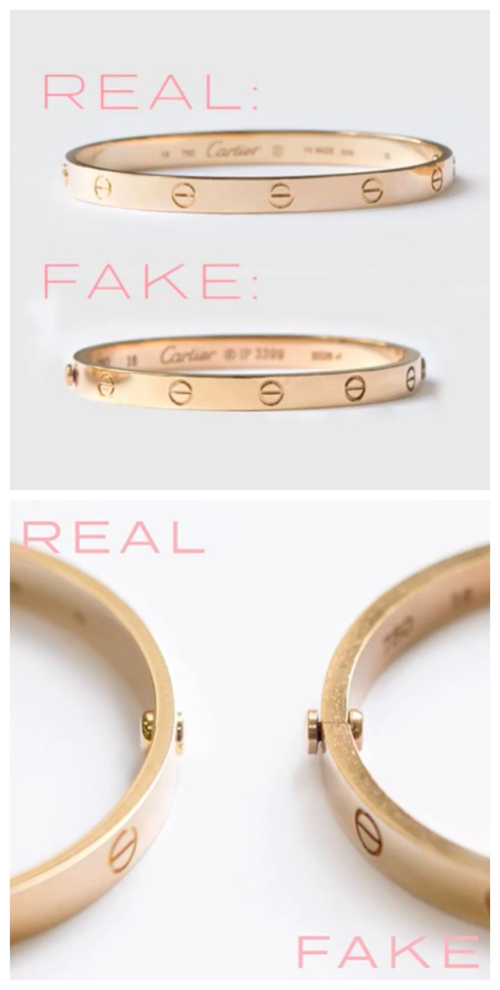 412090bdc30 A fake Cartier Love bracelet. The immediate giveaway on this fake  the  weight. Fakes are often much lighter than the real