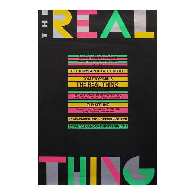 1986 Original Poster for 'The Real Thing' Play | Play ...