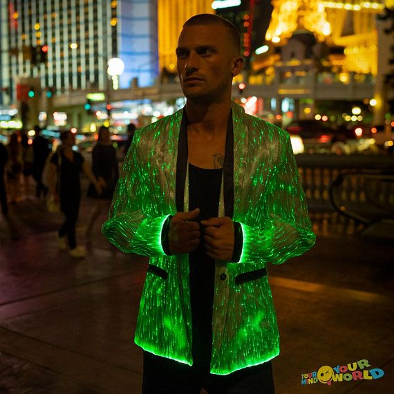 Rave Colorful Light Up LED Hooded Jacket Coat for Men
