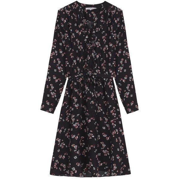 Gerard Darel Venise Dress, Black (6.810 RUB) ❤ liked on Polyvore featuring dresses, long-sleeve shift dresses, midi dress, flutter sleeve dress, shift dress and long-sleeve floral dresses