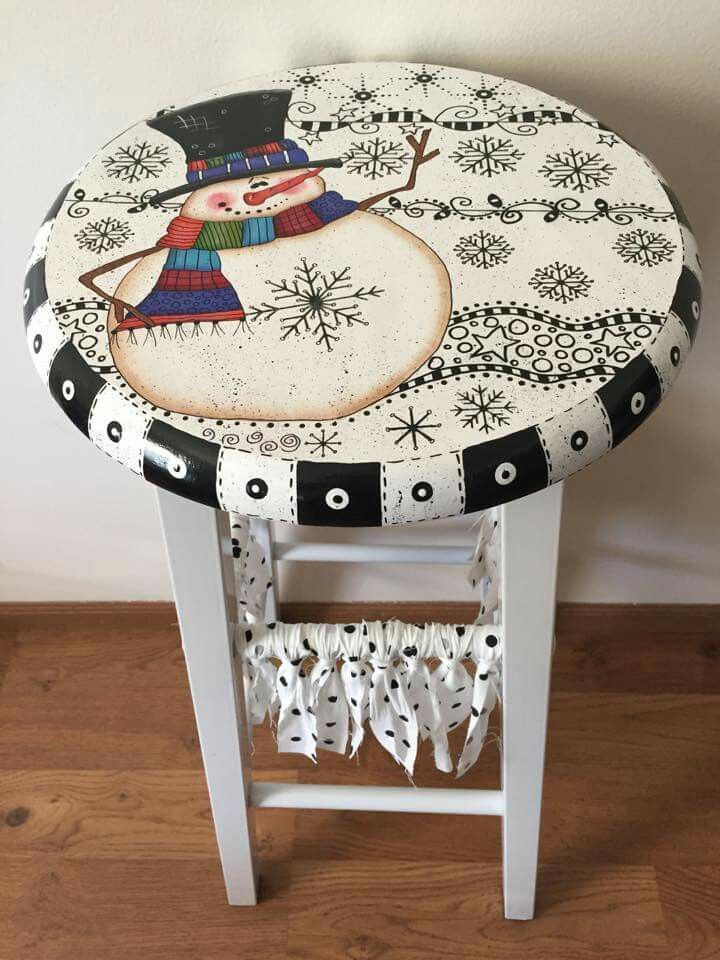 Image result for hand painted snowman stools