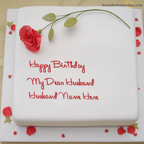 Write Name On Rose Birthday Cake For Husband