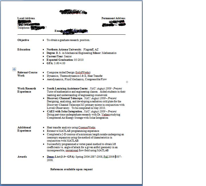 Graduate School Resume  HttpWwwResumecareerInfoGraduate