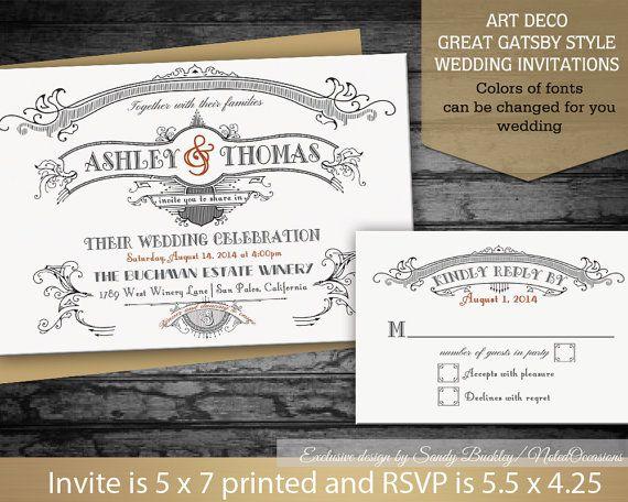 Great Gatsby Wedding Invitations Set Art Deco Wedding Suite - formal invitation style