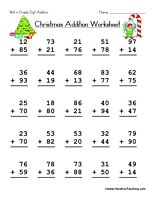 Christmas Double Digit Addition Worksheet | Christmas math ...