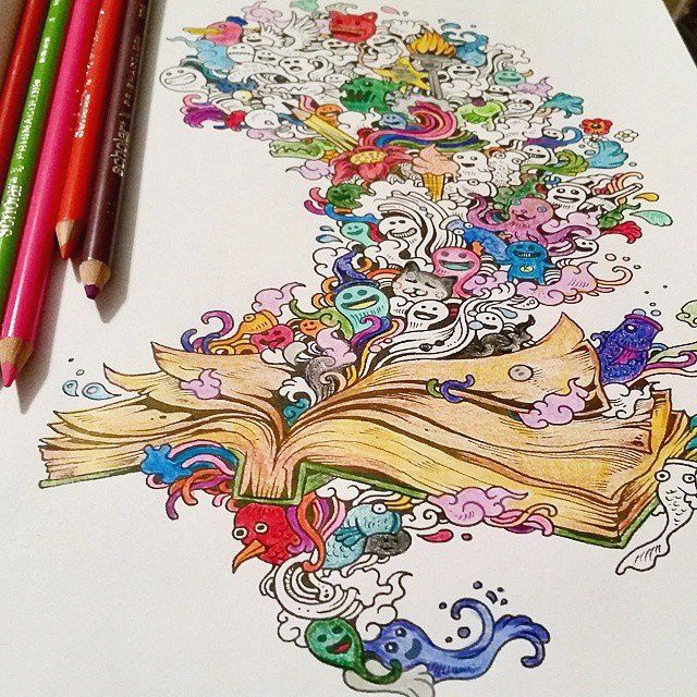 Doodle Invasion Detailed Coloring Book For Adults By Kerby Rosanes