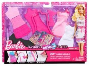 Barbie Fashion Design Plates Sweetie Extension Pack X7896 By Mattel 11 99 Includes 3 Fashion Plates 2 Real Dresses To Barbie Fashion Barbie Fashion Design