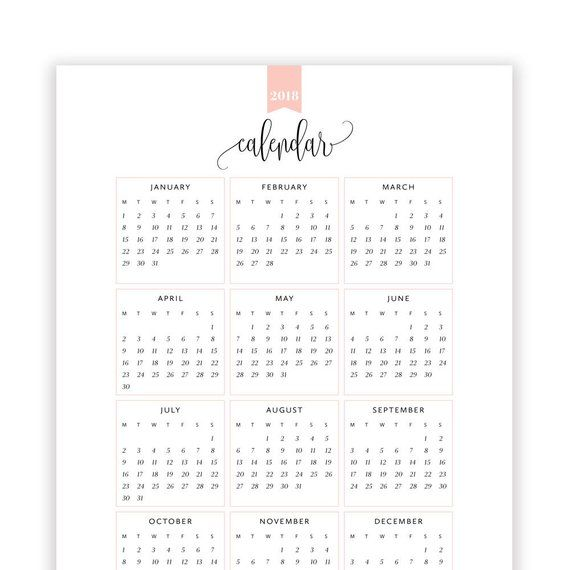 2018 Year at a Glance Calendar, Year Printable Planner, Yearly