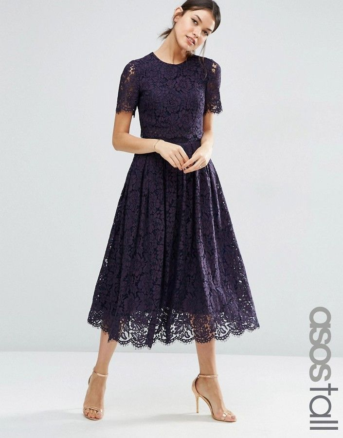de92b5d0f26 ASOS Tall ASOS TALL Lace Crop Top Midi Prom Dress