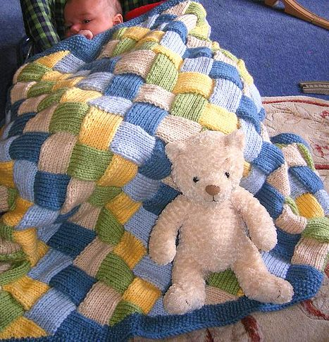 Building Blocks Woven Look Entrelac Aran Baby Blanket Knitting