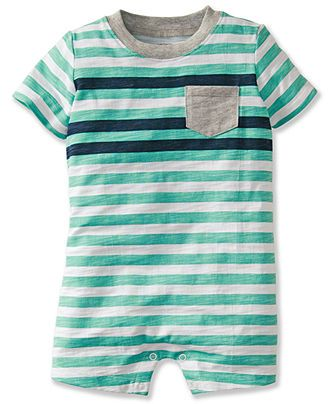 New Ralph Lauren Infant Baby Boy Romper Striped Spring Turquoise Size 6 Months