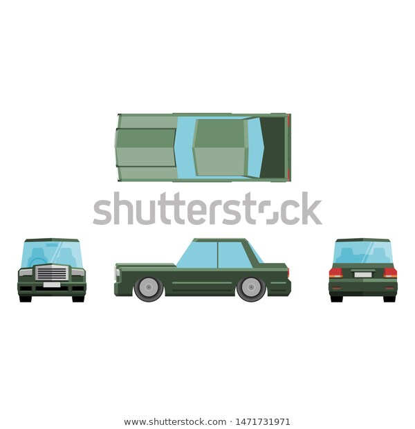 Sedan Car Front Side Back Top Stock Vector Royalty Free 1471731971 Sedan Cars Car Front Sedan