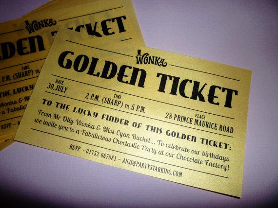 Golden Ticket DiY printable invitations by partystarking on Etsy - ticket invitation template
