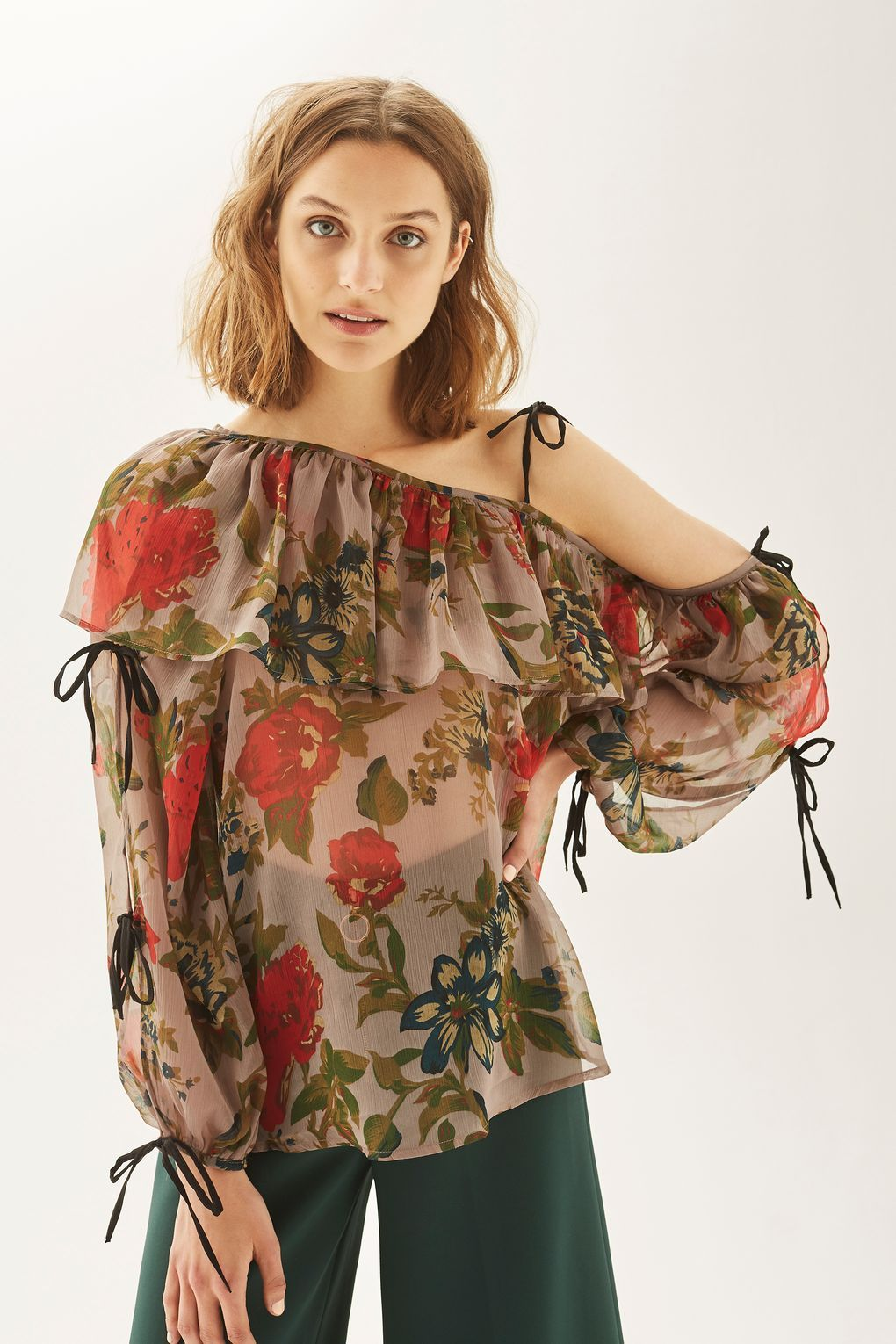 One Sleeve Floral Chiffon Top