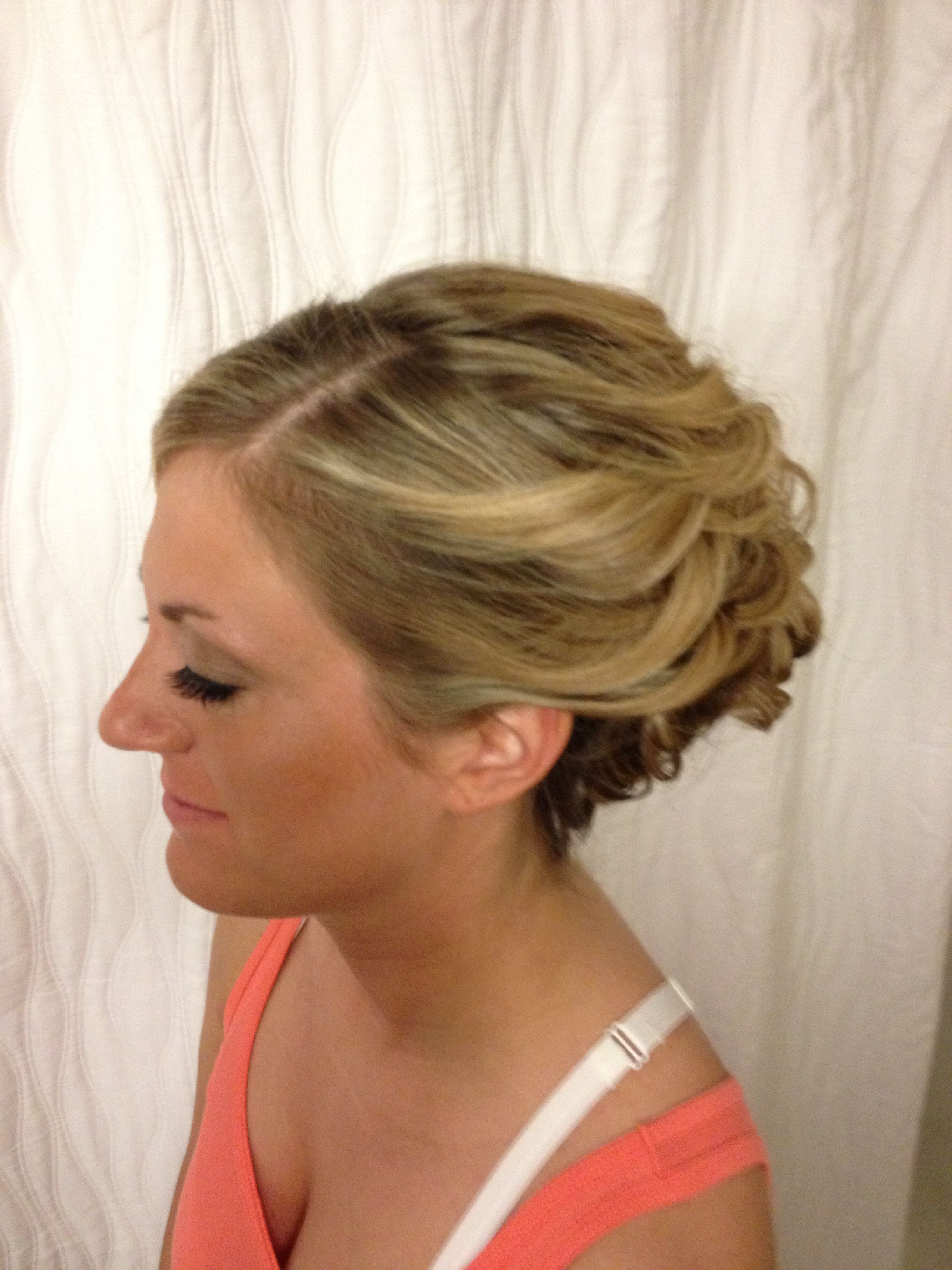 Beautiful updo for long thick hair for homecoming or wedding season