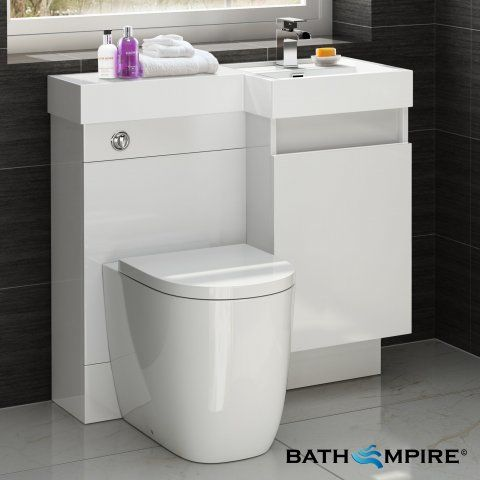 Gloss White Combined Vanity Unit | Toilet And Basin | 906x880mm   BathEmpire