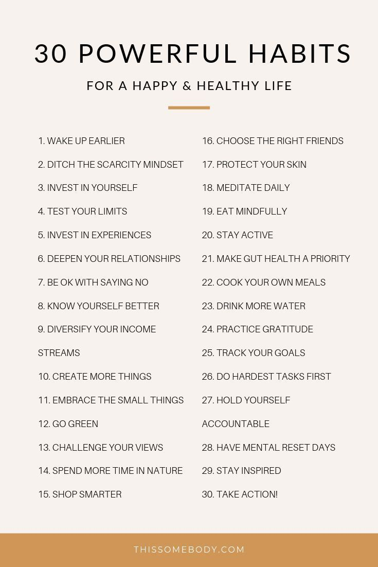 30 powerful habits for a happy, healthy life #routine #simpleliving #productivehabits #intentionalliving #meaningfulliving #selfgrowth #personaldevelopment