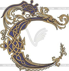 Gothic initial letter C with dragon - vector clipart