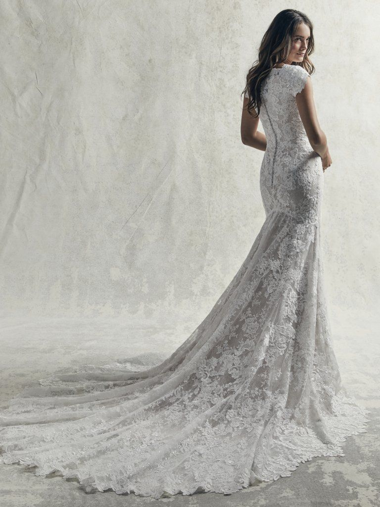 7f9b8cf749d5 Sottero and Midgley - Wedding Dress - Chauncey Leigh (back view) A  modern-elegant lace covered bridal gown with fit and flare skirt and modest  bodice area.