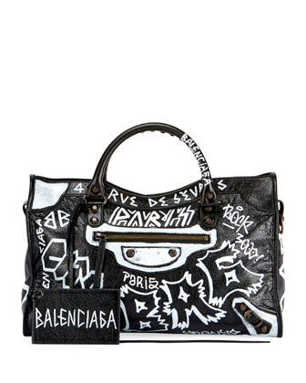 6c775437bc4 Classic+City+AJ+Graffiti-Print+Satchel+Bag+by+Balenciaga +at+Bergdorf+Goodman.