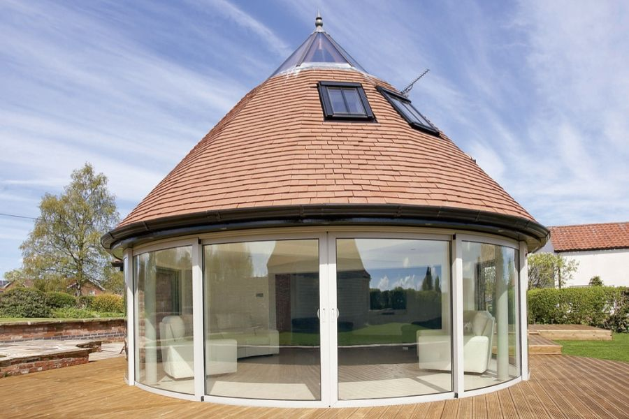 Balcony Systems Curved Patio Door Makes Impressive Statement ~ Selfbuilder  U0026 Homemaker Products