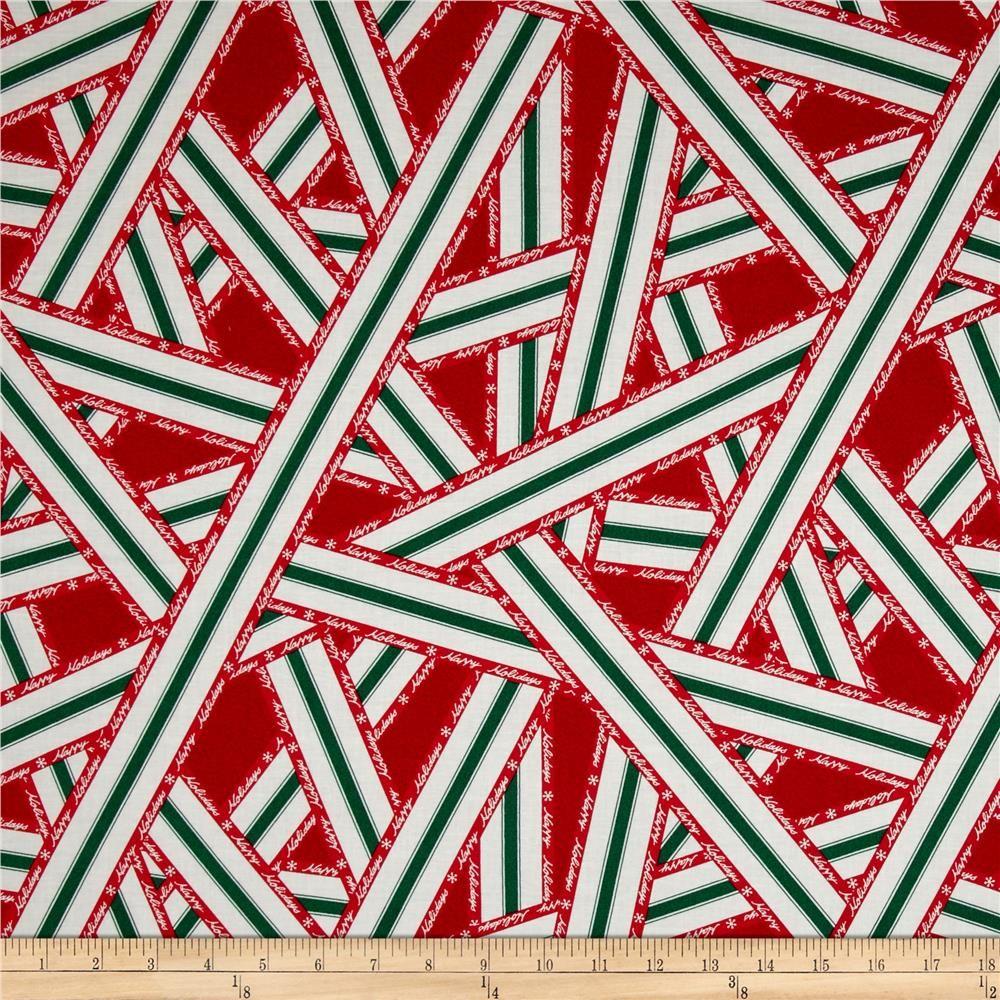 Lecien Happy Holidays Ribbon Print Red