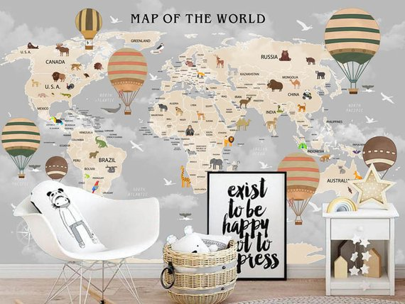 Hand Painted World Map Nursery Wallpaper Wall Mural World Map Etsy Nursery Wallpaper Map Nursery Map Wall Mural