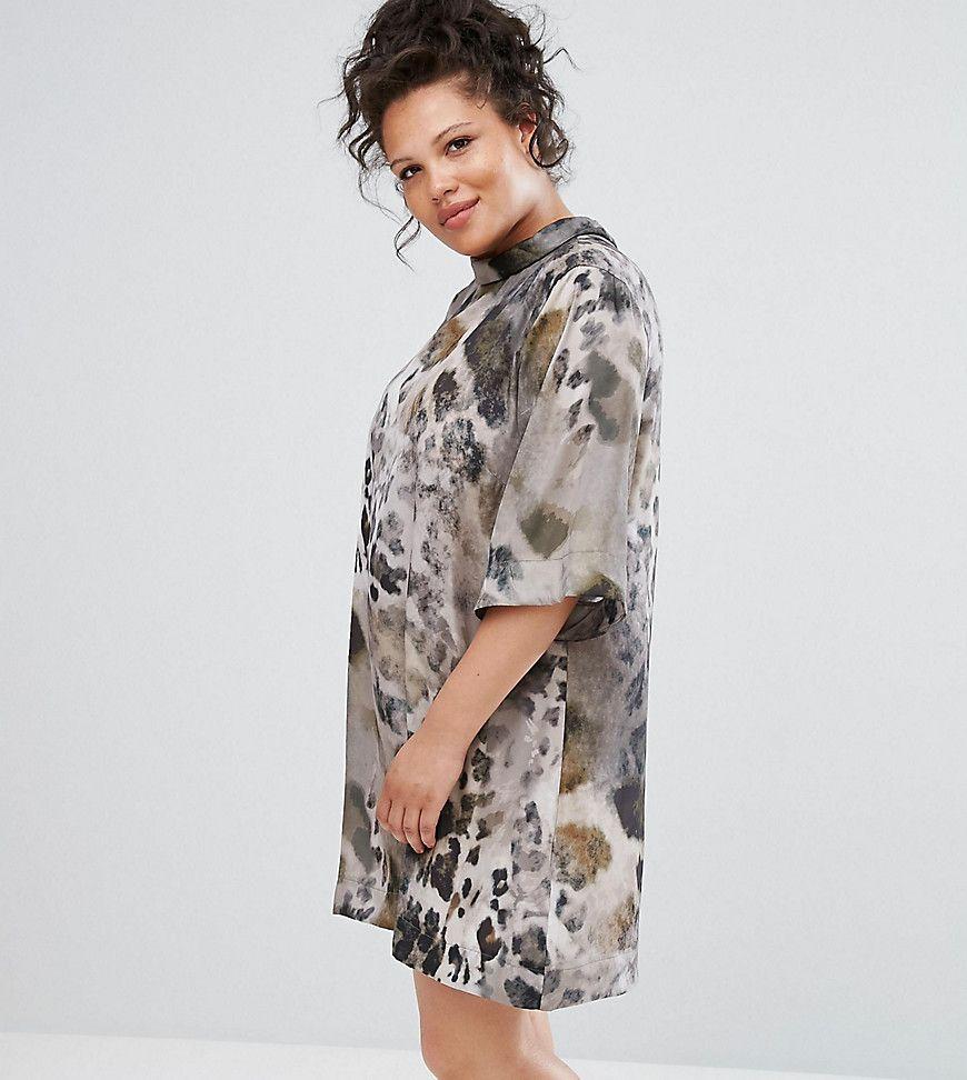 Elvi - Hochgeschlossenes Kleid mit Animalprint - Mehrfarbig Jetzt ...