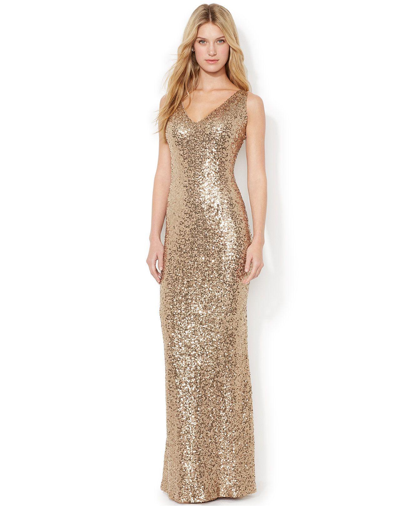 87b1b602f06  188 - Lauren Ralph Lauren V-Neck Sequined Gown - Dresses - Women - Macy s