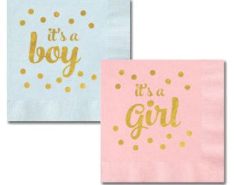 Gender Reveal Napkins Its A Girl Baby Shower Its A By ModParty