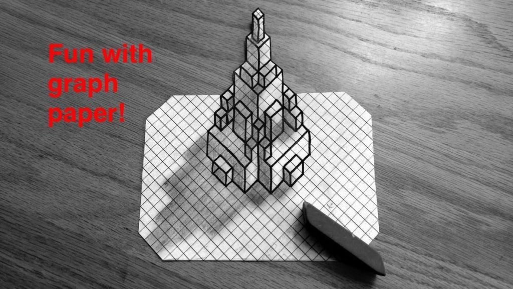 3D Buildings On Grid Paper Graph And Lined Paper Art Pinterest