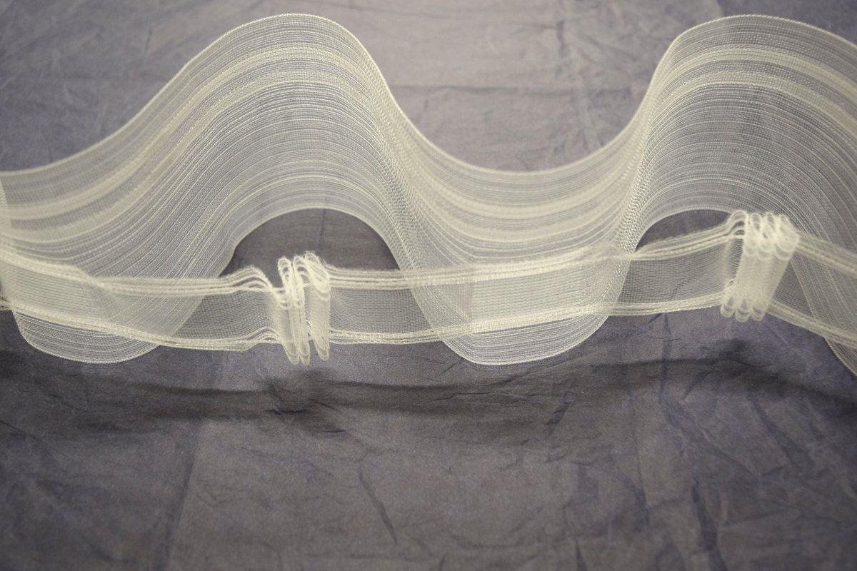 translucent shirring tape for ripple fold drapery 3 meters buckram heading pleat tape wave. Black Bedroom Furniture Sets. Home Design Ideas