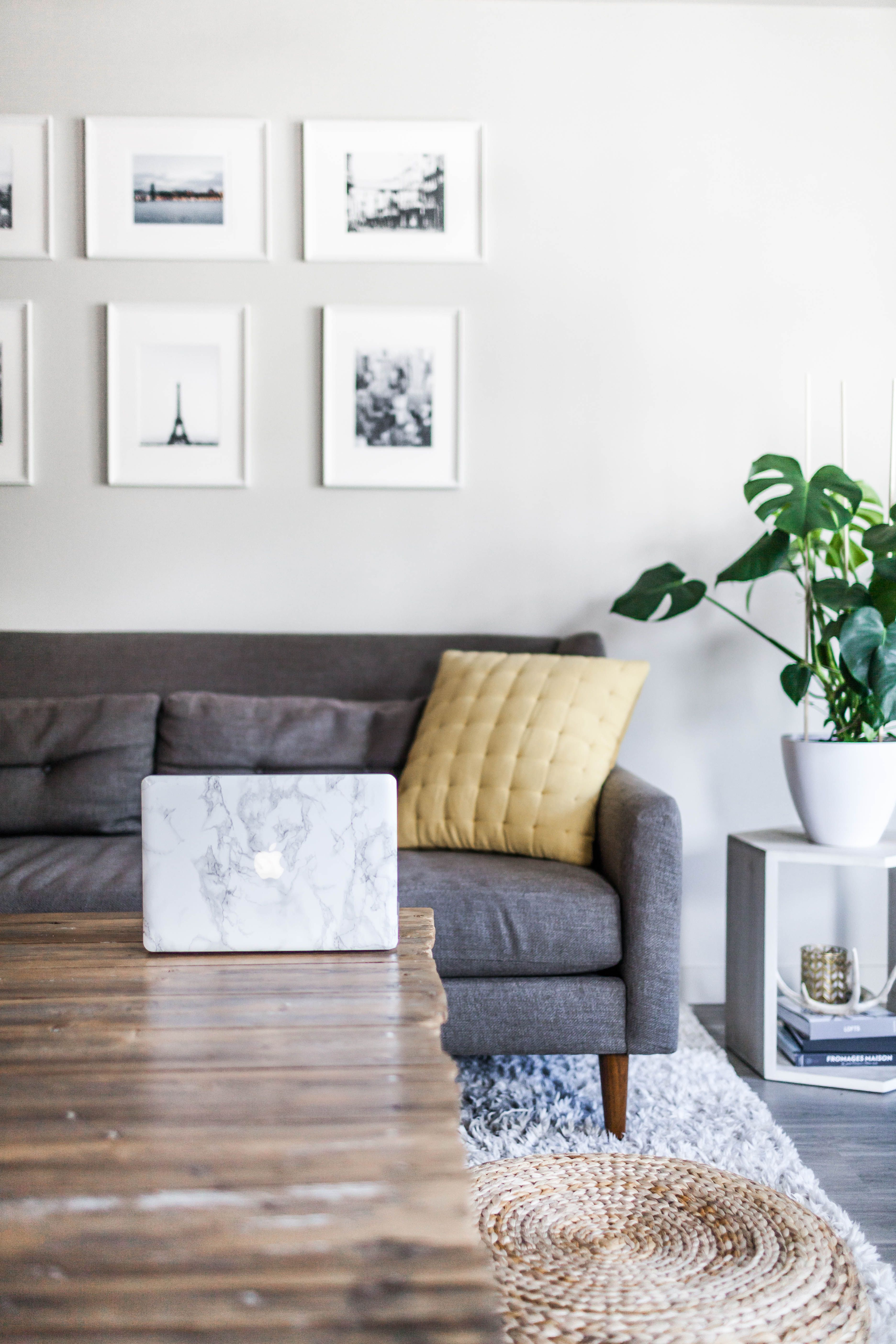 Seattle Living Room: Ikea picture wall frames + West Elm Crosby ...