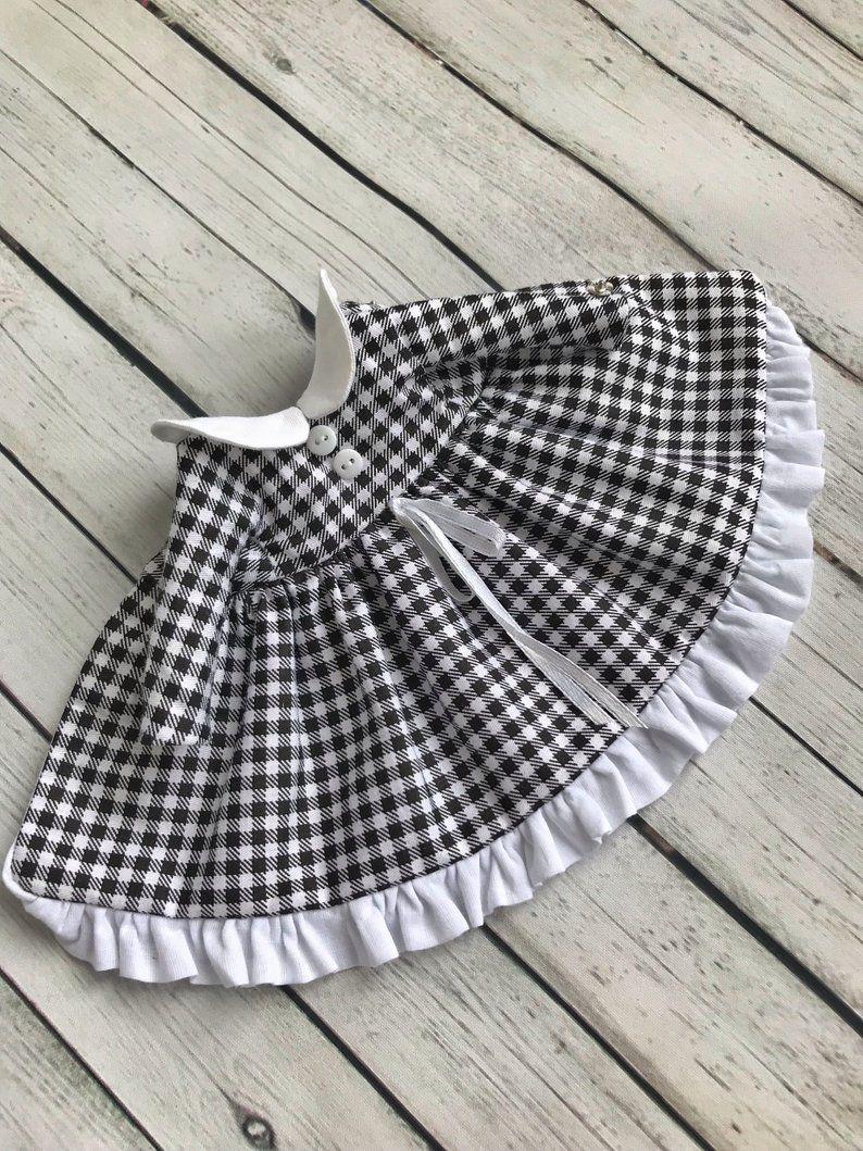 Blythe Checkered Dress Black And White Blythe Clothes