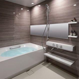 もしくはこんな色目の方が汚れが目立たないのか 鏡は縦長が良い 浴室 おしゃれ バスルーム おしゃれ 浴室 デザイン
