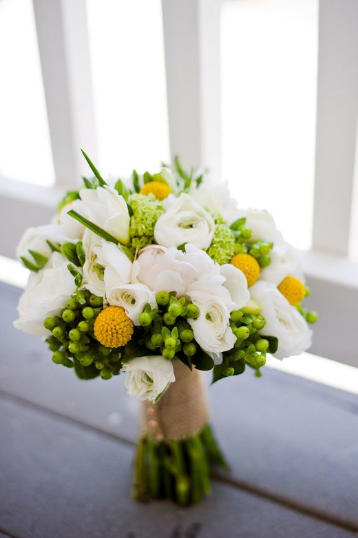 Bridal bouquet featuring viburnum white freesia yellow billy balls bridal bouquet featuring viburnum white freesia yellow billy balls green hypericum berry and mightylinksfo