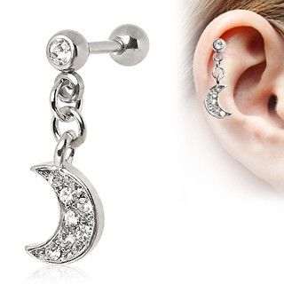 316L Surgical Steel Crescent Moon Dangle Cartilage    #piercing #tragus #jewelry #earring #cartilageearring
