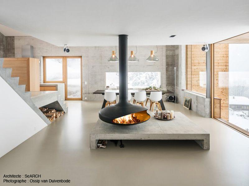 cheminee design contemporaine Gyrofocus au foyer suspendu et ...