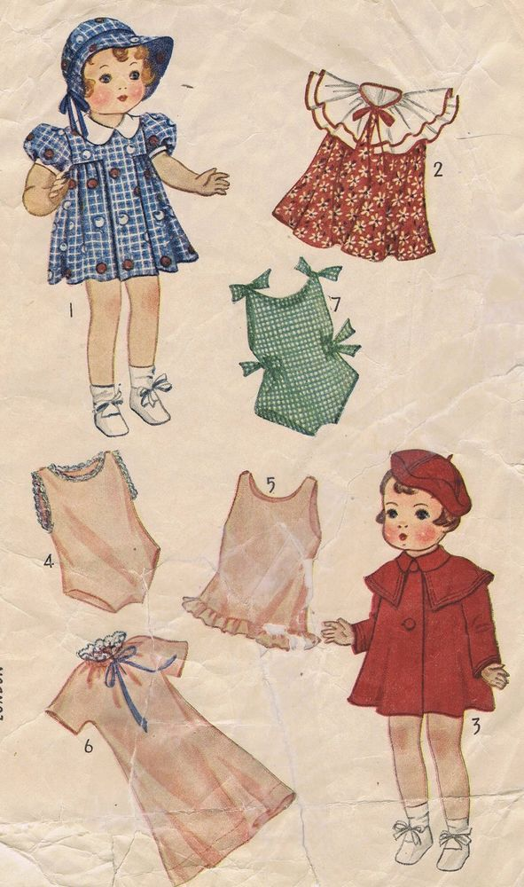 1901 Vintage Chubby Doll Pattern Size 16\