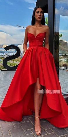 Royal Blue High Low A Line Sleeveless Long Prom Dresses GDW109