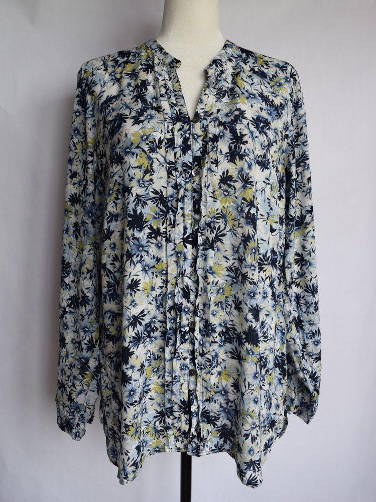 Nwt J Jill Floral Blouse Shirt Blue White Long Sleeves Size M