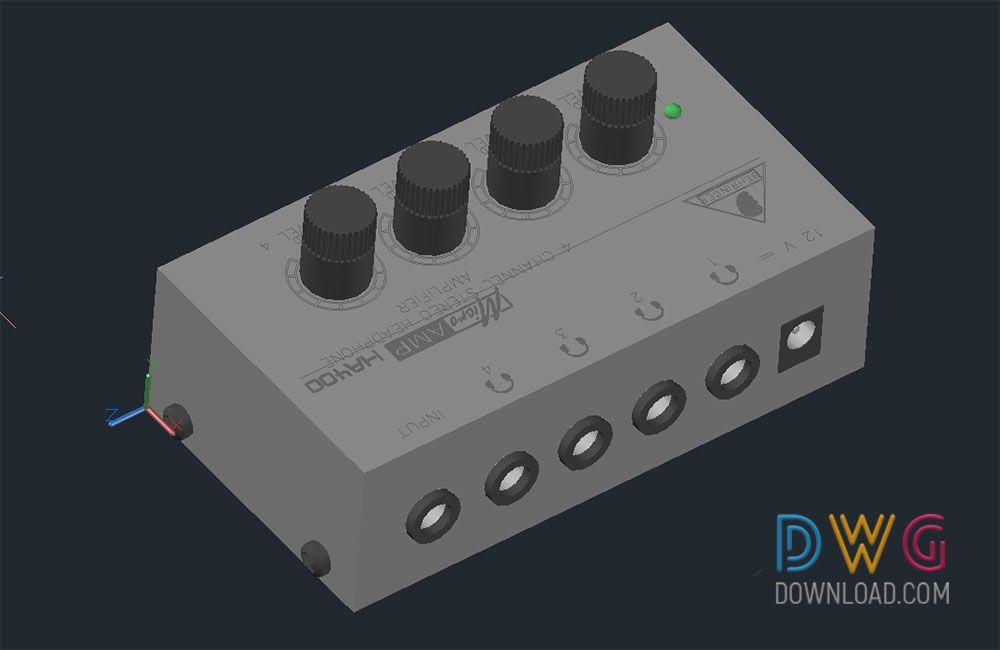 Amplifier 3d Cad Drawings 4 Channel Output Audio Amplifier Autocad