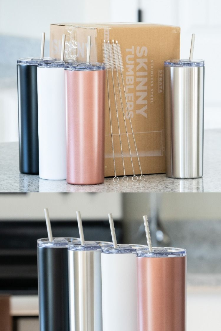 Skinny Travel Mug Reusable Cup With Straw Vinyl Diy Gifts Rose Gold White Black Silver Double Walled To Lock I In 2020 Diy Vinyl Tumbler Cups Diy Reusable Cup