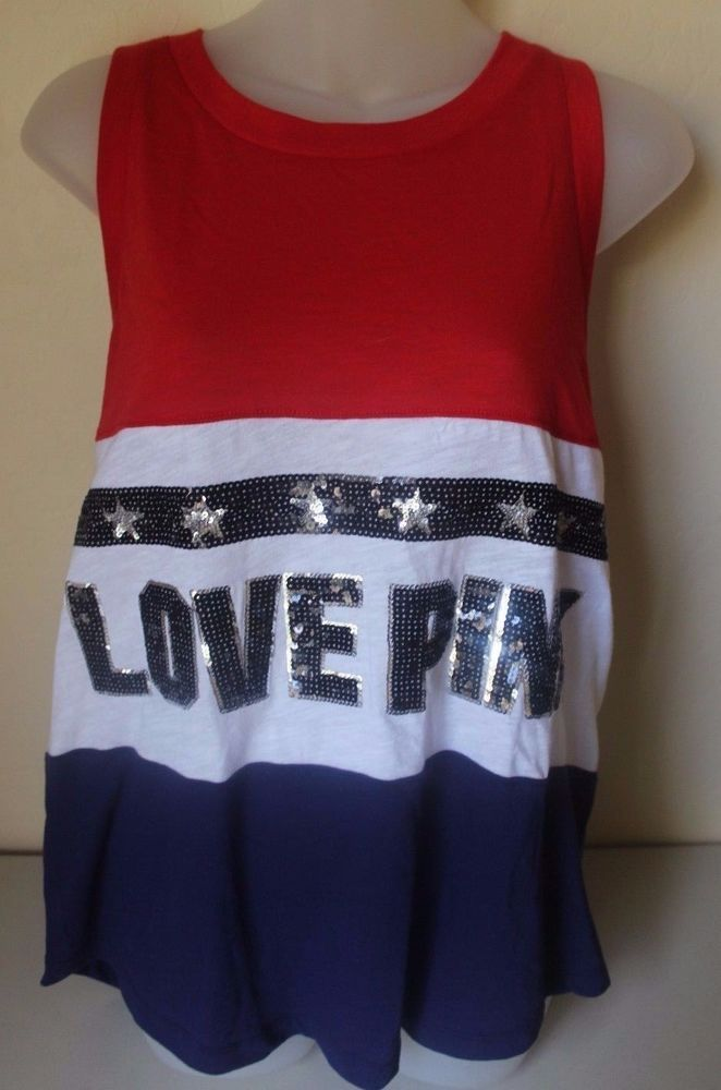 PINK Victoria's Secret 4th of July Tank Top Sequin Bling LOVE PINK ...